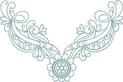 Flower Drape Neckline embroidery design