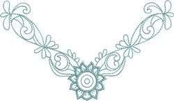 Simple Flower Neckline embroidery design