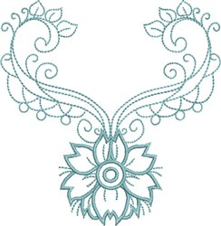 Exotic Flower Neckline embroidery design