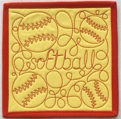 Free Motion Softball Mug Mat embroidery design