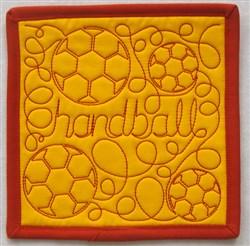 Free Motion Handball Mug Mat embroidery design