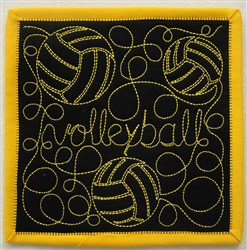 Free Motion Volleyball Mug Mat embroidery design