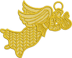 Lace Angel with Lute embroidery design