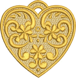 Lace Christmas Heart embroidery design