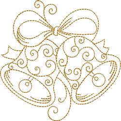 Curlicue Golden Bells embroidery design
