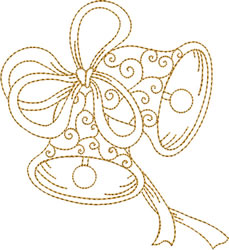Golden Bells with Double Bow embroidery design