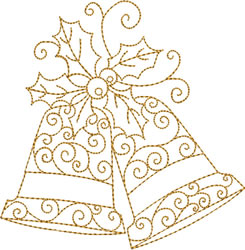 Holly Berries Golden Bells embroidery design