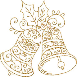 Two Golden Bells with Holly embroidery design