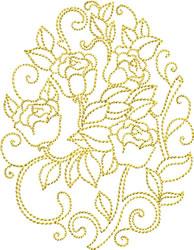 Golden Easter Roses embroidery design