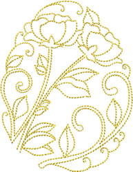 Golden Easter Poppies embroidery design