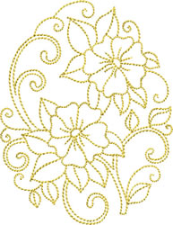 Golden Easter Morning Glory embroidery design
