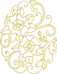 Golden Easter Pansies embroidery design