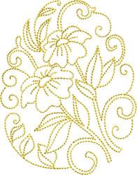 Golden Easter Vinca embroidery design