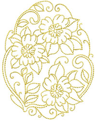 Golden Easter Floral embroidery design