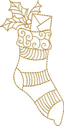 Gold Christmas Stocking embroidery design