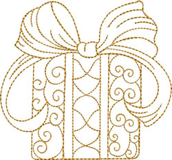 Gold Christmas Gift embroidery design