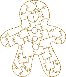 Gold Christmas Patchwork Gingerbread Man embroidery design