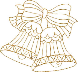 Gold Bells & Bow embroidery design
