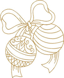Gold Christmas Ornaments & Bow embroidery design