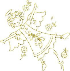 Golden Flying Angel embroidery design
