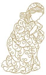 Nativity Praying Woman embroidery design