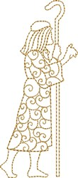 Nativity Shepherd with Crook embroidery design