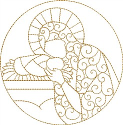 Mary Kissing Baby Jesus embroidery design