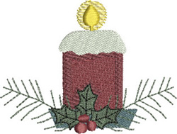 Christmas Candle & Holly embroidery design