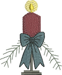 Christmas Candle & Bow embroidery design
