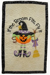 ITH If the Broom Fits Mug Mat embroidery design