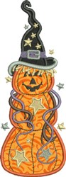 Jack-O-Lantern Witch embroidery design
