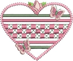 Heart with Butterflies embroidery design