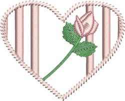 Heart and Rose embroidery design