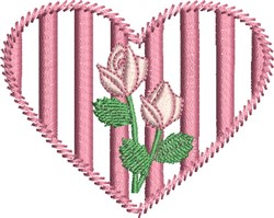 Striped Heart embroidery design