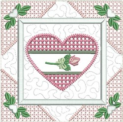Rose Heart Quilt Block embroidery design