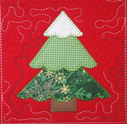 Patchwork Christmas Tree Quilt Block embroidery design