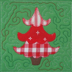 Tree Applique Quilt Block embroidery design