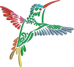 Multi-color Hummingbird 6 embroidery design