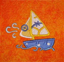 ITH Sail Boat Appliqued Quilt Block embroidery design