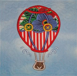 ITH Hot Air Balloon Appliqued Quilt Block embroidery design