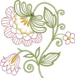 Pink Jacobean Floral embroidery design