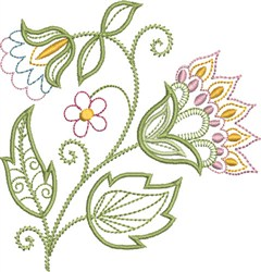 Delicate Jacobean Floral embroidery design
