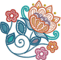 Lace Jacobean Flowers embroidery design