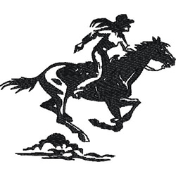 Female Horse Racer embroidery design