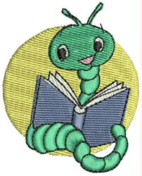 Bookworm embroidery design