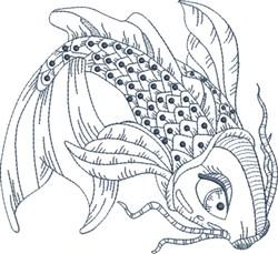 Koi Blue Line 2 embroidery design