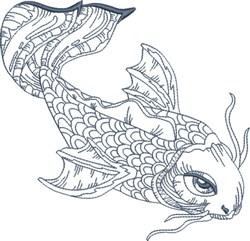 Koi Blue Line 3 embroidery design