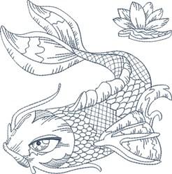 Koi Blue Line 4 embroidery design