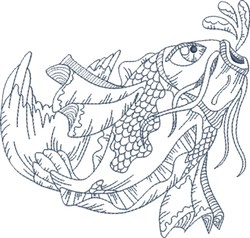 Koi Blue Line 5 embroidery design
