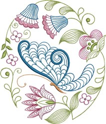 Large Hoop Jacobean Butterfly embroidery design